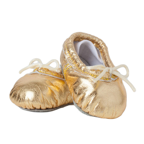 Newborn Baby Ballet Slippers - Metallic Gold leather shoes