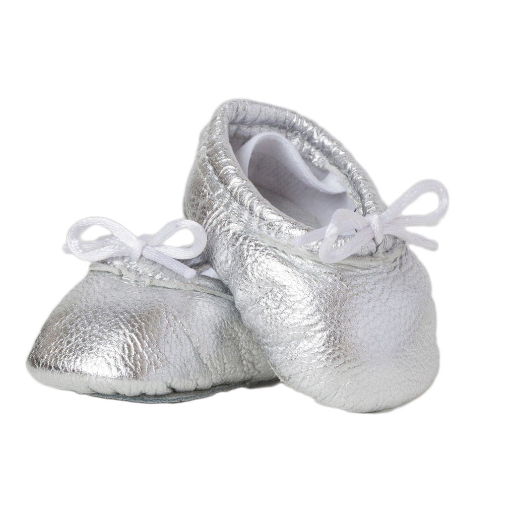 90b469a1f premie and Newborn Baby Ballet Slippers - Metallic Pink leather ...