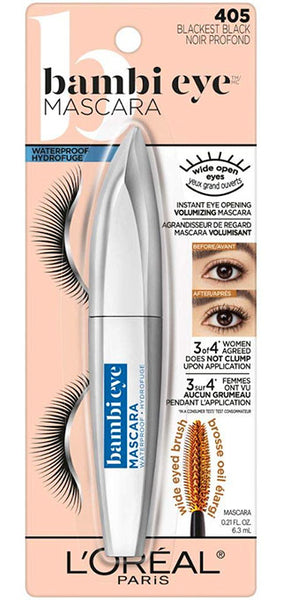 LOREAL Bambi Eye WATERPROOF Mascara, 405 Blackest Black