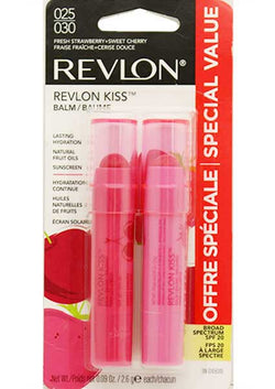 REVLON Kiss Lip Balm SPF 20, Fresh Strawberry & Sweet Cherry