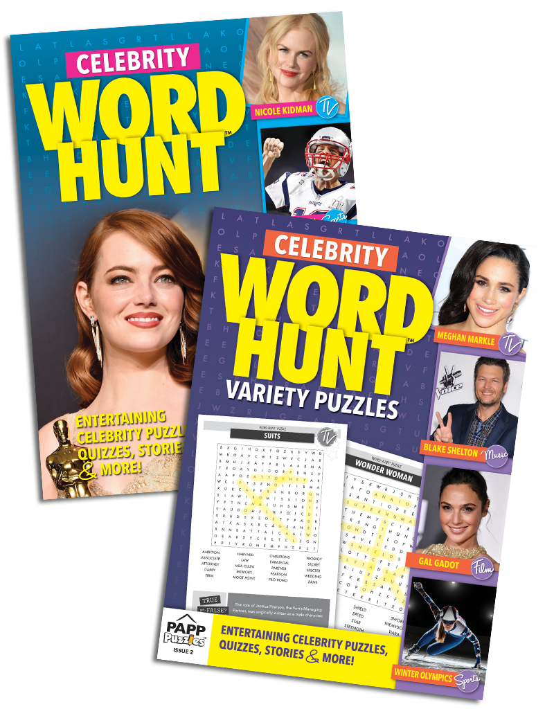 Celebrity Word Hunt Variety Puzzles