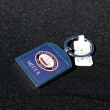 Medea Steam Yacht metal fob keychain with museum logo on back.