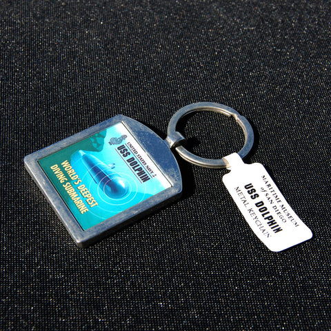 USS Dolphin metal fob keychain with museum logo on back.