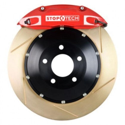 StopTech 07-2014 Mustang 380x32mm Big Brake Kit - Replaces OEM Brembos (Red 6 Piston Caliper - Slotted Zinc Coated Rotor)