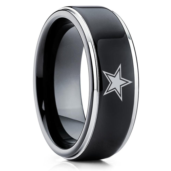 Tungsten Carbide Ring - Football Inspired Ring - Dallas Cowboys Ring - Tungsten Wedding Band