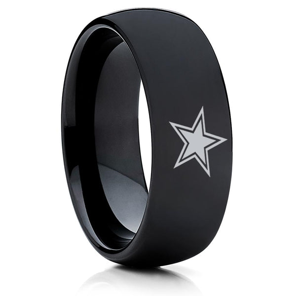 Dallas Cowboys Tungsten Ring- Football Inspired Ring - Dallas Cowboys Ring - Black Tungsten Ring