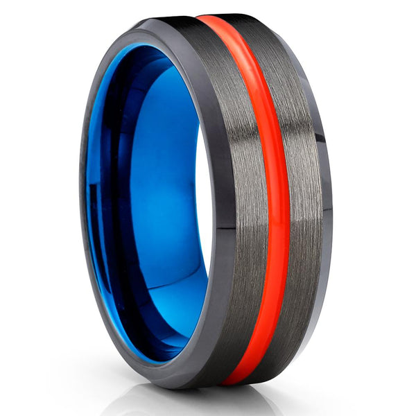 Orange Tungsten Ring - Gunmetal -  Blue Tungsten Wedding Band  - Brush - Clean Casting Jewelry