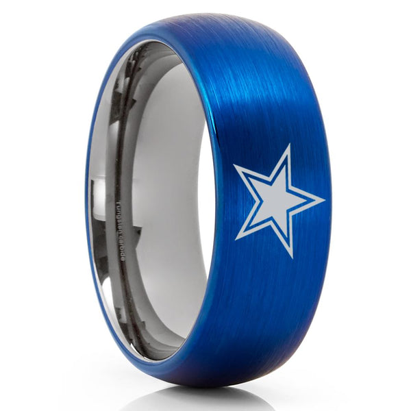 Blue Tungsten Ring - Dallas Star Ring - Football Wedding Ring - Football Inspired Ring