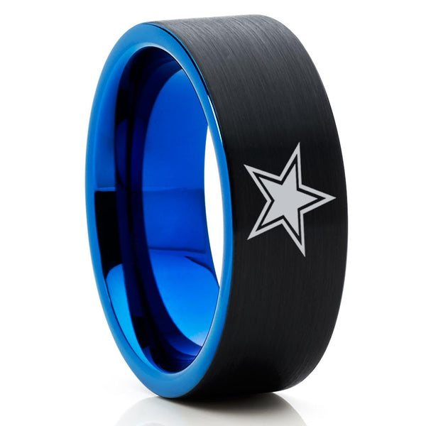 Blue Tungsten Wedding Band - Football Ring - Dallas Star Ring - Black Tungsten