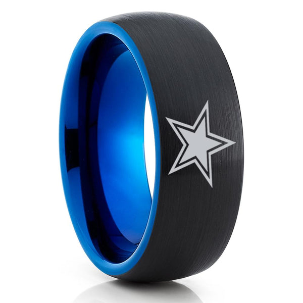Blue Tungsten Wedding Band -  Football Ring - Football Inspired - Dallas Star Ring