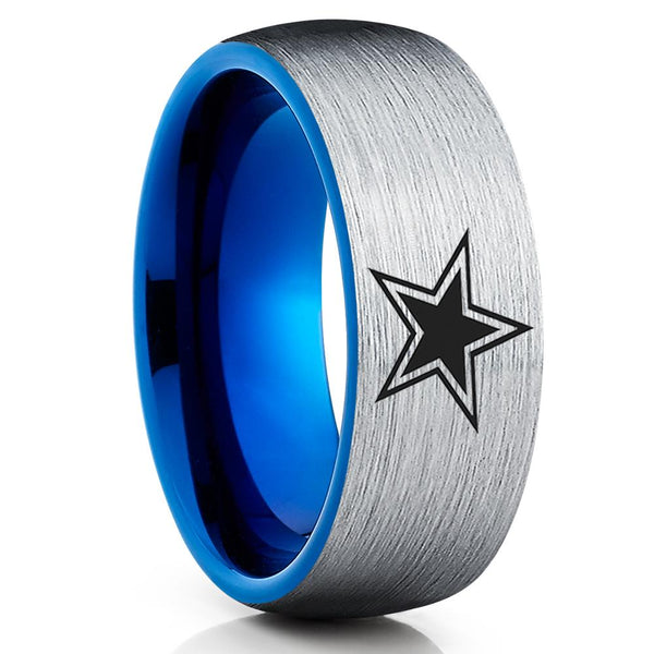 Blue Tungsten Wedding Band - Football Ring - Dallas Star Ring - Blue Tungsten Ring