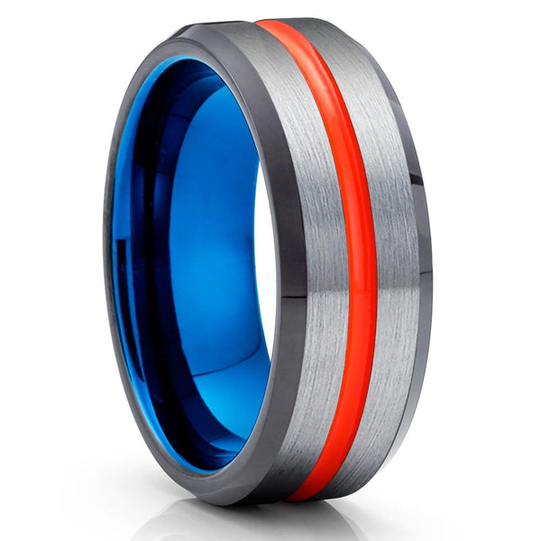 Orange Tungsten Ring - Blue Tungsten - Gray Wedding Band - Black Ring - Clean Casting Jewelry