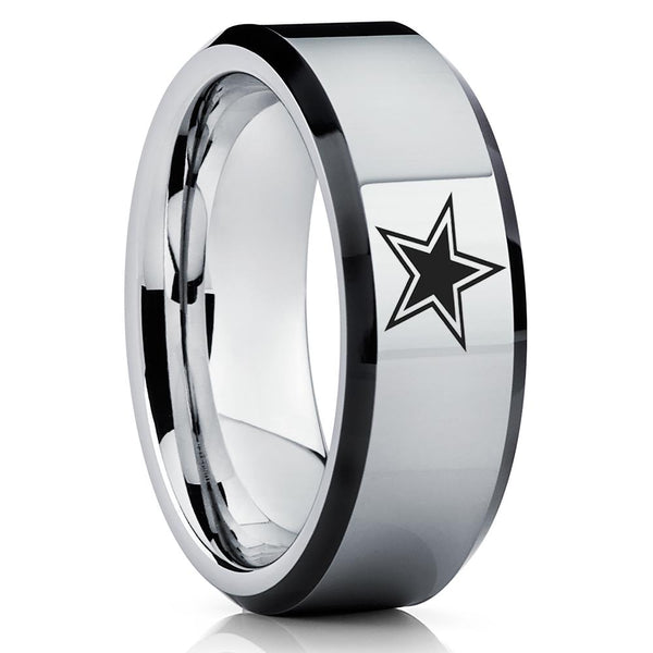 Tungsten Carbide Ring - Football Inspired Ring - Dallas Ring - Tungsten Wedding Band