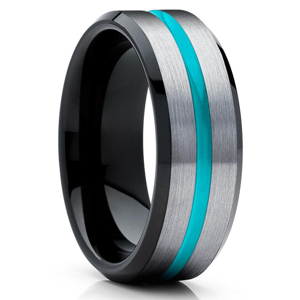 Turquoise Tungsten Ring -Black Tungsten Ring - Black Wedding Band - Ring - Clean Casting Jewelry