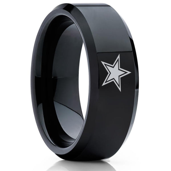 Dallas Cowboys Tungsten Ring - Black Tungsten Ring - Football Wedding Band - Cowboys Ring