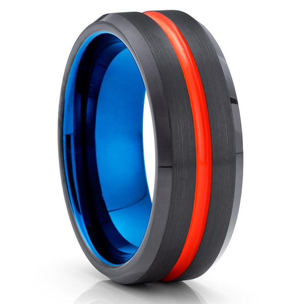 Orange Tungsten Ring - Black Tungsten Wedding Band - Blue Tungsten - Brush - Clean Casting Jewelry