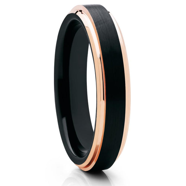 4mm - Black Tungsten Ring - Black Tungsten - Rose Gold Tungsten - Comfort Fit - Clean Casting Jewelry