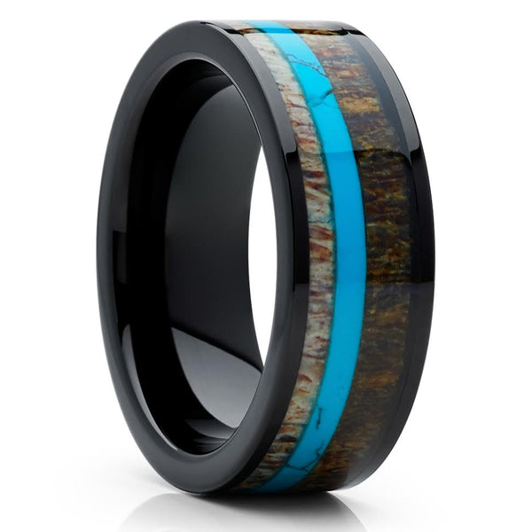 Deer Antler Wedding Band - Black Ring - Turquoise Wedding Ring - Antler Ring - Clean Casting Jewelry