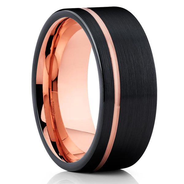 Black Tungsten Wedding Band - Rose Gold - 8mm Tungsten Ring - Brush - Clean Casting Jewelry