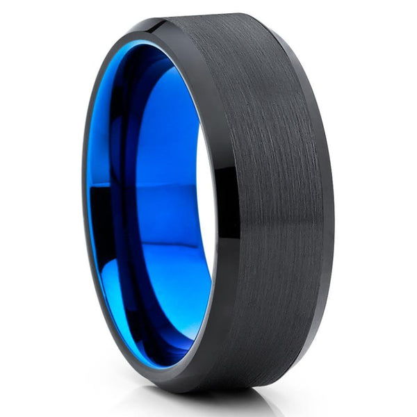 Blue Tungsten Wedding Band - Black Tungsten - Men & Women - Tungsten Wedding Ring