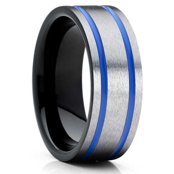 Grey Wedding Band - Tungsten Wedding Ring - Blue Tungsten Ring - 8mm - Clean Casting Jewelry