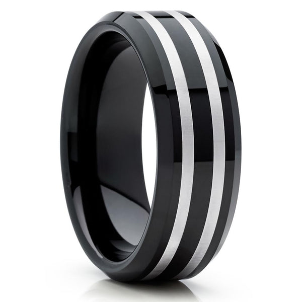 Black Tungsten Ring - Black Wedding Band - Tungsten Wedding Ring - Black Band - Clean Casting Jewelry