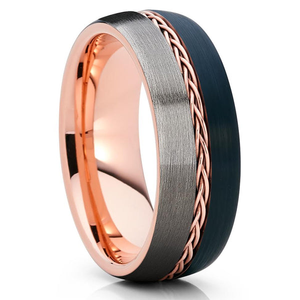 Rose Gold Tungsten Wedding Band - Gunmetal - Rose Gold Tungsten - 8mm - Clean Casting Jewelry