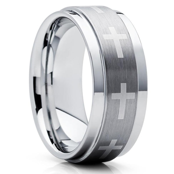 Tungsten Wedding Band - Cross Ring - Christian Ring - Tungsten Wedding Ring - Clean Casting Jewelry