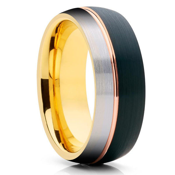 Black Tungsten Ring - Rose Gold Tungsten - Yellow Gold Tungsten Ring - Clean Casting Jewelry