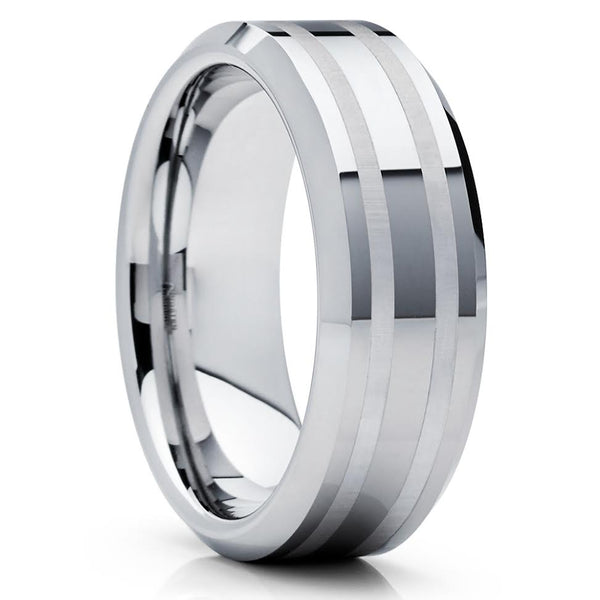 Silver Tungsten Ring - Tungsten Wedding Band - Tungsten Carbide - Groove - Clean Casting Jewelry