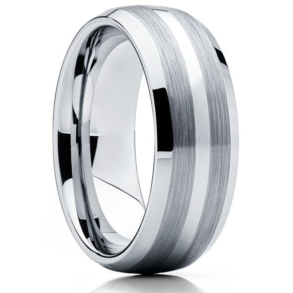 Tungsten Wedding Band - Men's Tungsten Ring - Silver Tungsten Ring - Gray - Clean Casting Jewelry