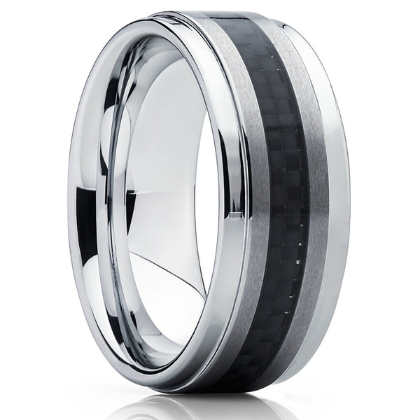 Tungsten Wedding Band - Carbon Fiber Ring - Silver Tungsten Band - Clean Casting Jewelry