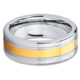 Tungsten Wedding Band - Yellow Gold Tungsten Ring - Yellow Gold Tungsten - Clean Casting Jewelry