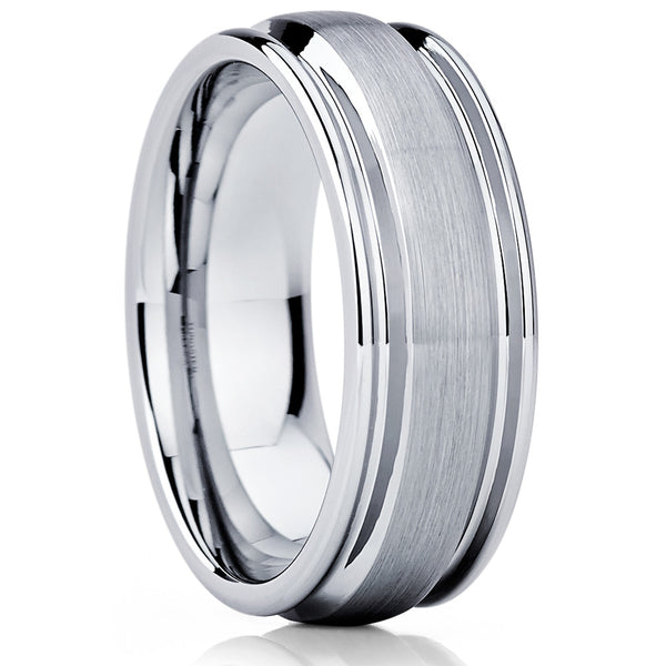 Men's Wedding Band - Tungsten Wedding Band - Grey Tungsten - Brush - 8mm - Clean Casting Jewelry