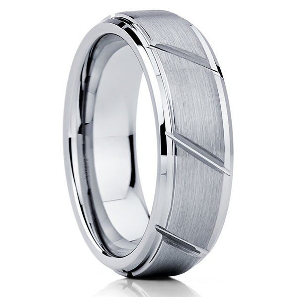 Silver Tungsten Wedding Band - Brushed - Tungsten Wedding Ring Grooved - Clean Casting Jewelry