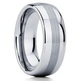 Unique,Tungsten Ring,Tungsten Carbide,Men's Tungsten Ring,Brushed,Dome Classic