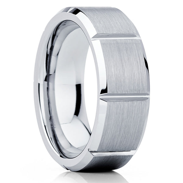 Silver Tungsten Ring - Grooved Tungsten - Gray Tungsten Band - 8mm - Clean Casting Jewelry