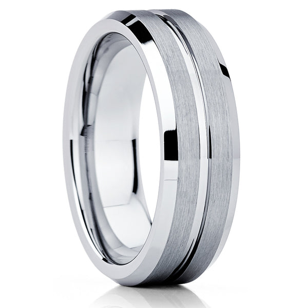 Silver Tungsten Ring - Gray Tungsten Ring - Brush Tungsten Ring - Beveled Ring - Clean Casting Jewelry