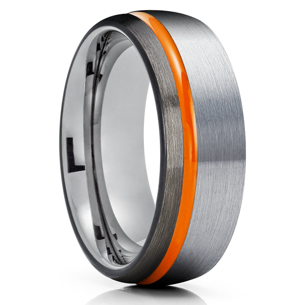 Orange Tungsten Wedding Band - Orange Wedding Ring - Black Tungsten Ring - Gunmetal