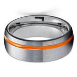 Orange Tungsten Wedding Band - Black Tungsten Wedding Ring - Gray Tungsten - Gunmetal