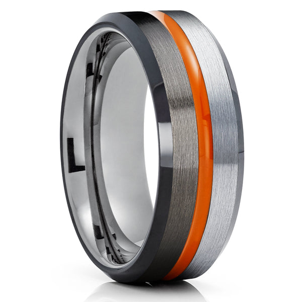 Gunmetal Tungsten Wedding Ring - Orange Tungsten Ring - Black Tungsten Ring - Brush