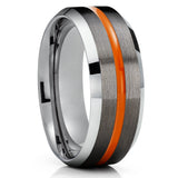 Gunmetal Tungsten Ring - Orange Tungsten Ring - Tungsten Carbide - Men & Women Ring