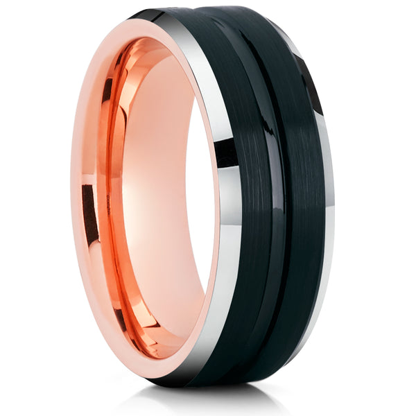 Rose Gold Tungsten Ring - Black Wedding Ring - Rose Gold Tungsten Ring - Engagement