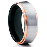 Black Wedding Band - Rose Gold Tungsten - Tungsten Wedding Ring - Men's Ring