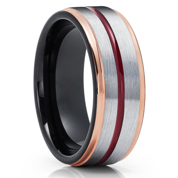Maroon Wedding Band - Rose Gold Tungsten Ring - 8mm Black Tungsten Ring - Brush