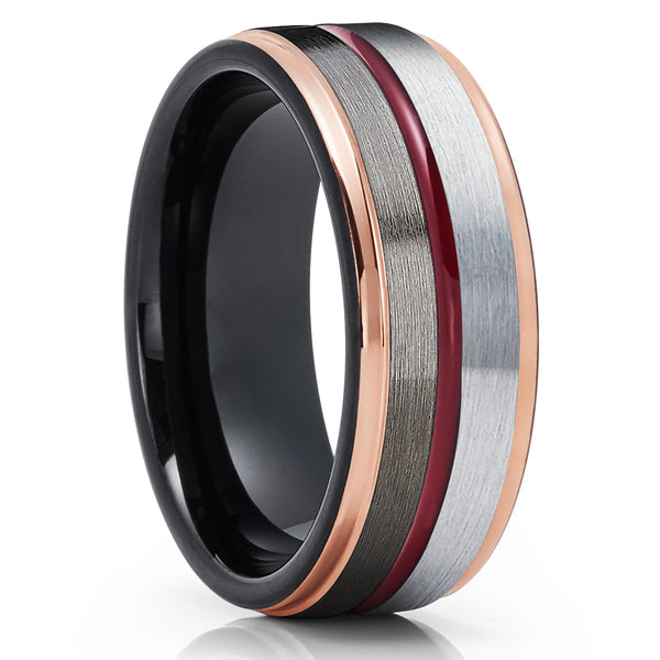 Maroon Wedding Band - Rose Gold Tungsten Ring - 8mm Black Tungsten Ring - Gunmetal