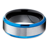 Blue Tungsten Wedding Band - Gray Tungsten Ring - Blue Tungsten - Black Tungsten Ring