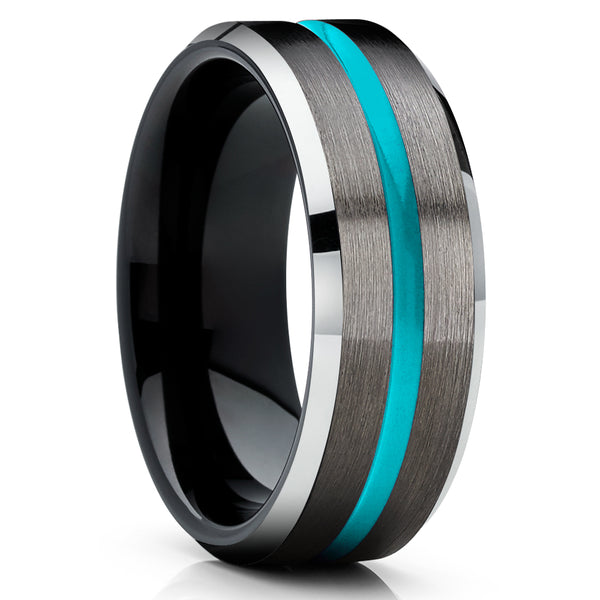 Turquoise Tungsten Ring - Gunmetal Tungsten Ring - Black Tungsten Ring - Unique Ring