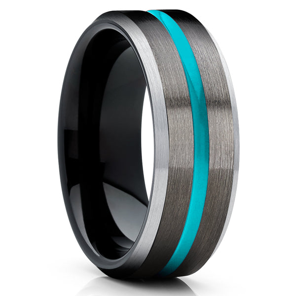 Copy of Turquoise Tungsten Ring - Gunmetal Tungsten Ring - Black Tungsten Ring - Unique Ring
