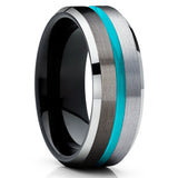 Silver Tungsten Ring - Turquoise Tungsten Wedding Band - Gunmetal Tungsten Ring - Brush